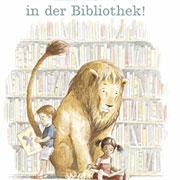 Abbildung Ein Löwe in der Bibliothek